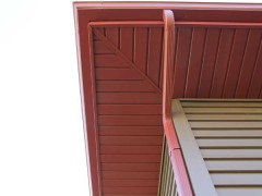 Red matched vinyl soffit